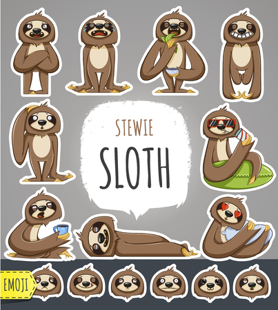 Illustration pour Cartoon Sloth Character. Emoticon Stickers With Different Emotions. Vector Illustration. - image libre de droit