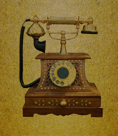 Telephone retro on grunge paper background