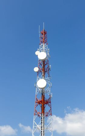 Repeater stations or Telecommunications tower  in a day of clear blue sky