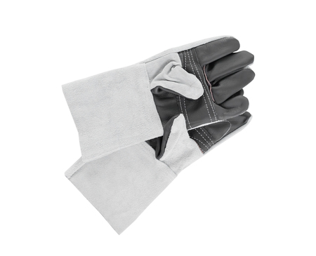 Rough leather glove with isolated on white background,Leather gloves for welding