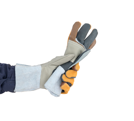 Working hand in Rough leather glove isolate on white background