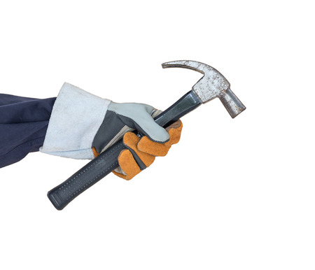 Working hand in glove holding a hammer isolate on white background