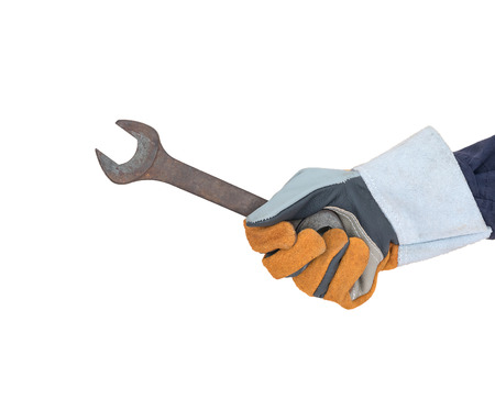 Working hand in glove holding a spanner isolate on white background