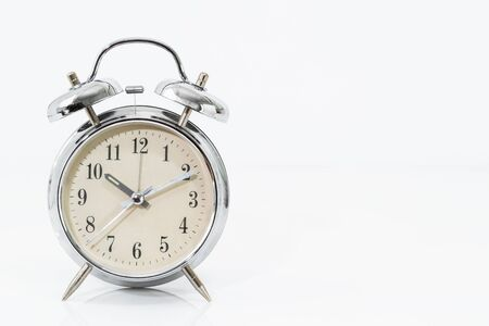 Photo for Silver alarm clock isolated on white background - Royalty Free Image