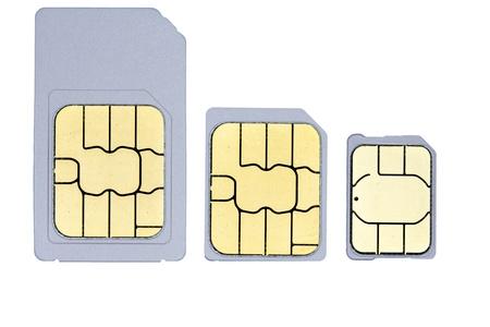 A close up picture of one mini-sim, one micro-sim and one nano-sim