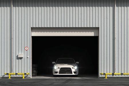 Photo pour Car in the garage with roller shutter door. 3d render - image libre de droit