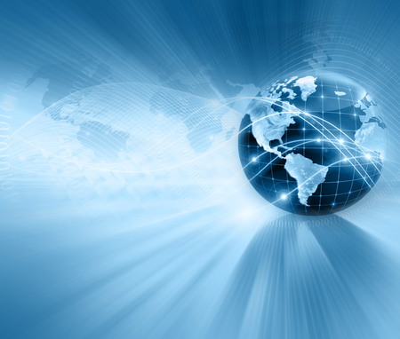 Photo pour Best Internet Concept of global business. Globe, glowing lines on technological background. Electronics, Wi-Fi, rays, symbols Internet, television, mobile and satellite communications. Technology illustration - image libre de droit