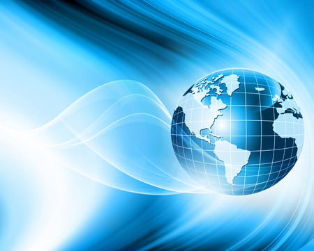 Best Internet Concept of global business. Globe, glowing lines on technological background. Electronics, Wi-Fi, rays, symbols Internet, television, mobile and satellite communications. Technology illustrationの写真素材