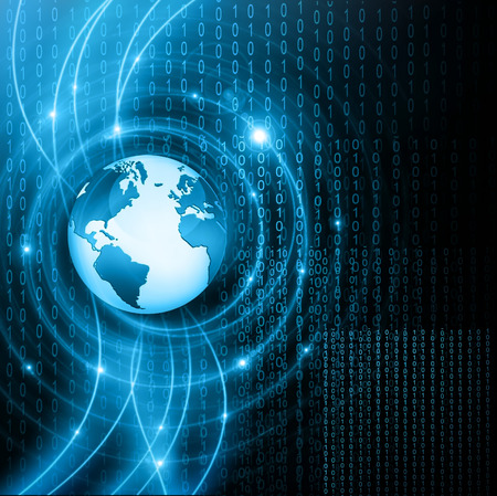 Best Internet Concept. Globe, glowing lines on technological background. の写真素材