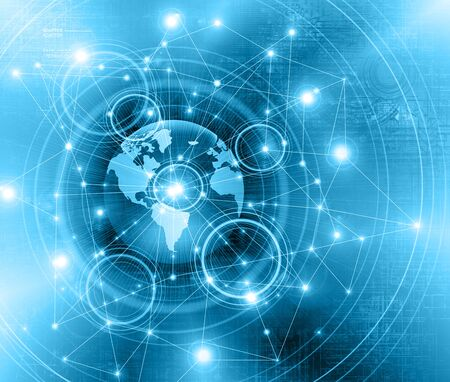 Best Internet Concept of global business.Technological background. Electronics, wireless rays, symbols of the Internet, television, mobile and satellite communications
