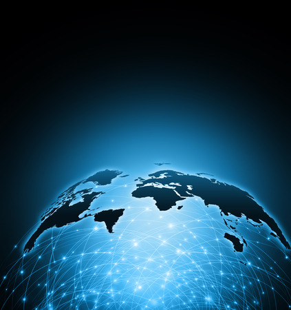 Photo pour World map on a technological background, glowing lines symbols of the Internet, radio, television, mobile and satellite communications. - image libre de droit
