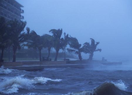 Hurricane Frances hits near Juno Beach, FL with hurricane force winds. September 4, 2004.