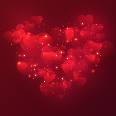 Illustration for Heart Valentine's day background with shiny hearts and stars. Vector illustration. - Royalty Free Image