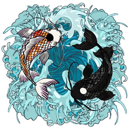 Illustration pour Realistic detailed hand drawn illustration of two koi carps swimming on background of water waves. Colorful graphic tattoo style image symbolising yin yang concept. T-shirt print. - image libre de droit