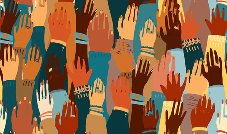 Illustration pour Illustration of a people's hands with different skin color together. Race equality, feminism, tolerance art in minimal style. Seamless tile pattern. - image libre de droit