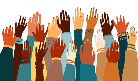 Illustration of a people's hands with different skin color together facing up. Race equality, feminism, tolerance art in minimal style. | Stock Images Page | Everypixel