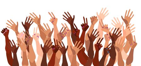 Illustration pour Illustration of a group of peoples hands with different skin color together. Diverse crowd, race equality, feminism, tolerance vector art in minimal flat style. - image libre de droit