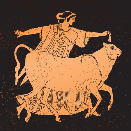 Greece mural painting,  Woman and Bull. Editable vector image