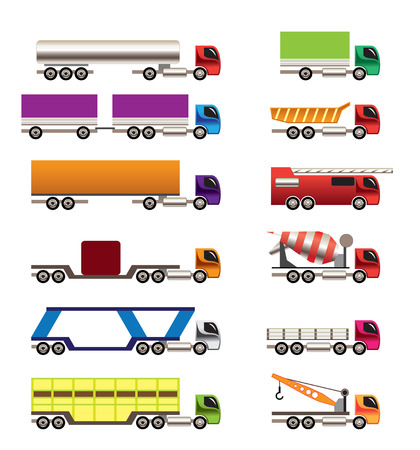 different types of trucks and lorries icons - Vector icon set