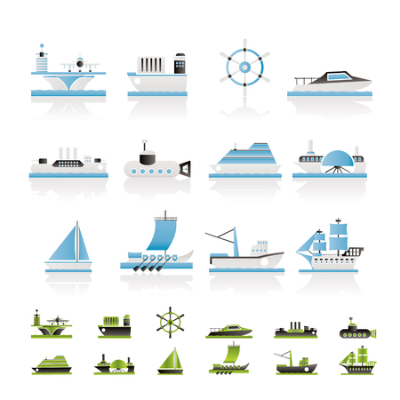 different types of boat and ship icons - icon set: Royalty-free