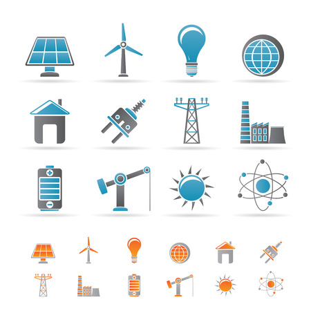 power, energy and electricity icons - icon set