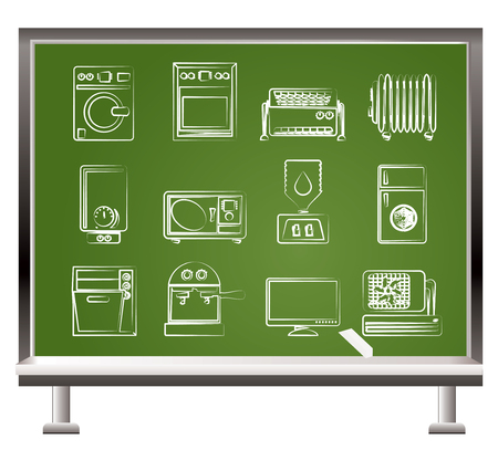 painted with chalk Home electronics and equipment objects - vector illustration