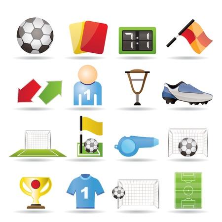 Ilustración de football, soccer and sport icons - vector icon set - Imagen libre de derechos