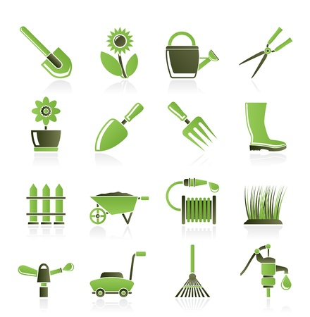 Garden and gardening tools and objects icons - vector icon set