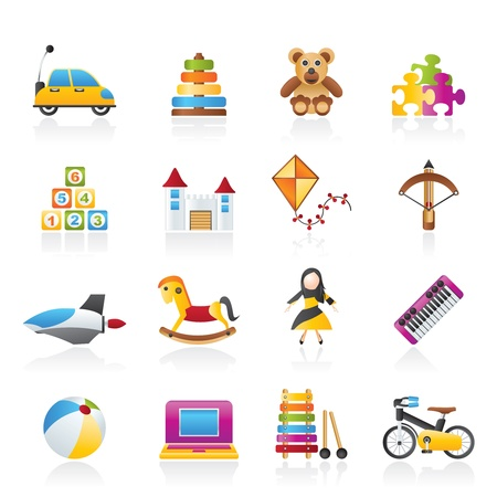 different kind of toys icons - vector icon set