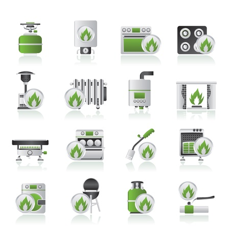 Household Gas Appliances icons - vector icon set