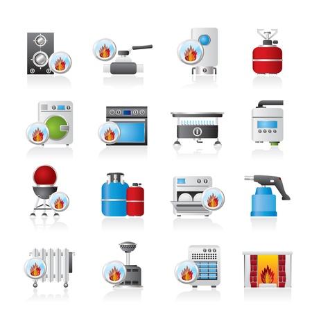 Household Gas Appliances icons - icon set