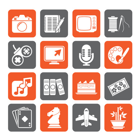 Silhouette Hobbies and leisure Icons - vector icon set