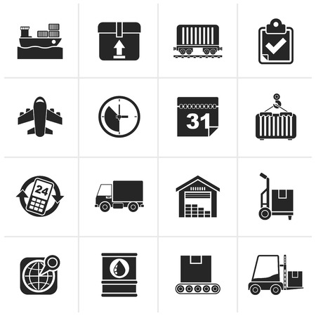 Black Logistic and Shipping icons - icon set