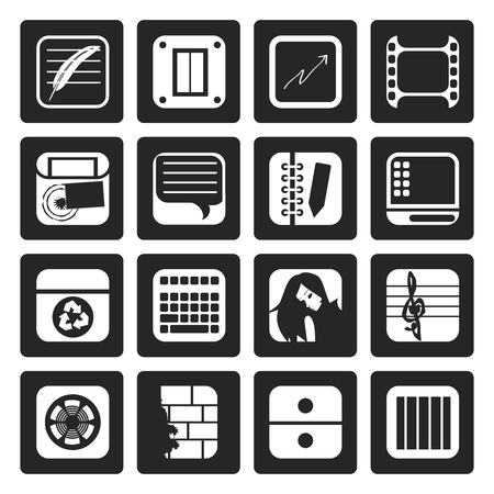 Black Business, Office and Mobile phone icons - Vector Icon