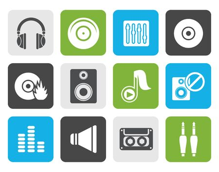 Flat Music and sound icons -  Vector Icon Set