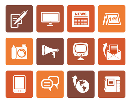 Ilustración de Flat Communication channels and Social Media icons - vector icon set - Imagen libre de derechos