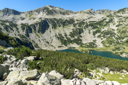 Amazing Panorama of Banderitsa fish lake, Pirin Mountain, Bulgaria