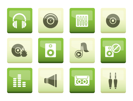 Music and sound icons over green background -  Vector Icon Set