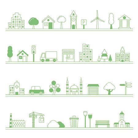Illustration pour Typical city building and elements  -  vector illustration - image libre de droit