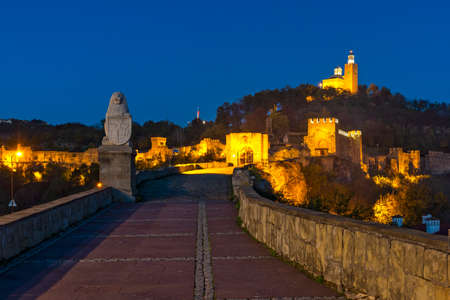 Photo for Night view of Ruins of The capital city of the Second Bulgarian Empire medieval stronghold Tsarevets, Veliko Tarnovo, Bulgaria - Royalty Free Image