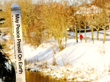May Peace prevail on Earth sign in Panevezys City, Lithuania