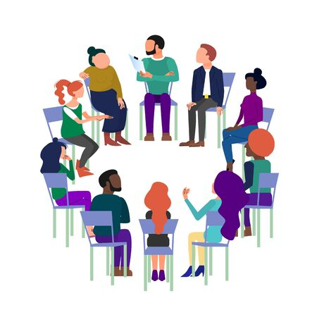 Ilustración de Concept art of group therapy, brainstorming meeting, people sitting in circle, anonymous club. Isolated on white background. Flat style stock vector illustration. - Imagen libre de derechos