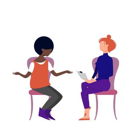 Illustration pour Scene of caucasian female therapist consulting black female patient. Flat style stock vector illustration - image libre de droit