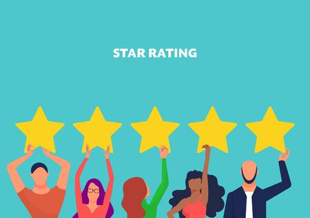 Illustration pour Customer feedback concept art, many people hold yellow rating stars. Copy space. Text star rating. Blue background. Flat style stock vector illustration - image libre de droit