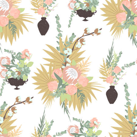 Illustration pour Floral boho seamless pattern with tropical flowers, leaves and bouquets in vases. On white background. Stock vector illustration. - image libre de droit