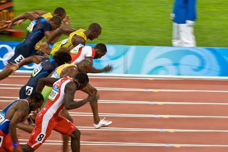 Beijing, China Aug. 18 2008, Olympics, 100 meter sprint, Start of men