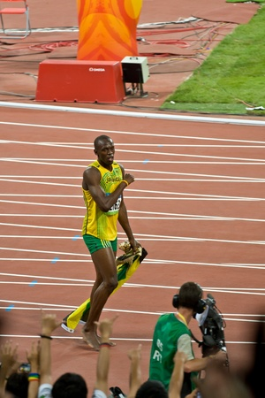 Beijing, China - Aug 16, 2008: Olympic Champion Sprinter Usain Bolt after victory in 100 meter Olympic race