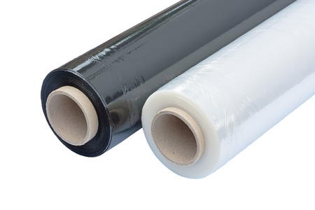 Two rolls of stretch film packaging black and transparent. Wrapping film. Isolated on white background.