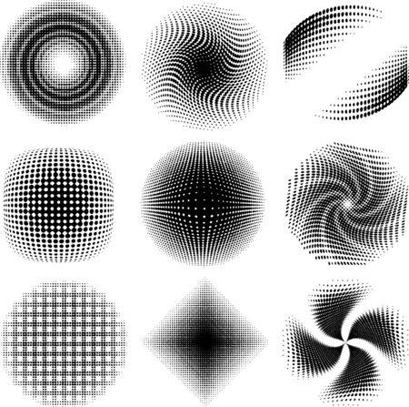 design elements - nine radial halftone-patterns