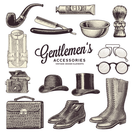 vintage gentlemen's accessories and design elements
